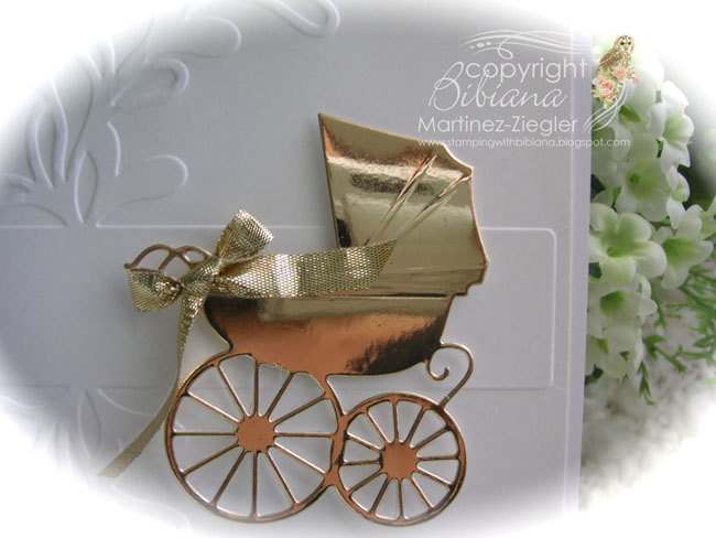 Baby carriage gold detail