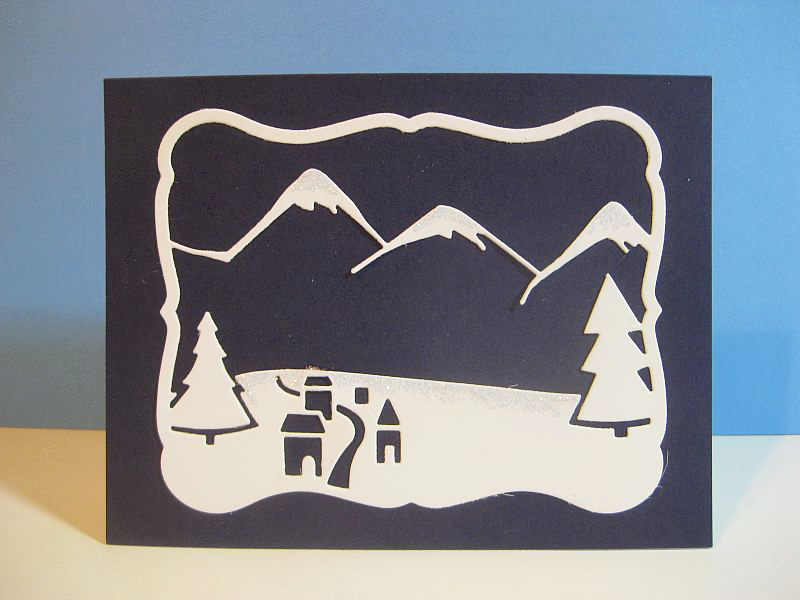 Mountain Christmas Cards.Die Piecing Outside The Box
