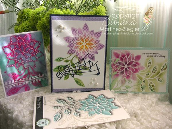 Gelli plate flowers tsencil trio
