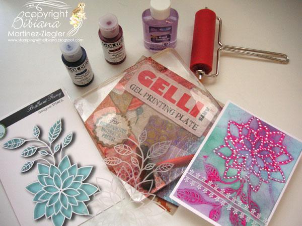 Gelli plate flower stencil gelli
