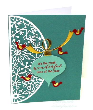Memory Box Snowflake Arch-Memory Box Curled Ribbons-Memory Box Ornament Hooks and Caps-Memory Box A Flock of Birds-Memory Box Holiday Collection-Jean Okimoto