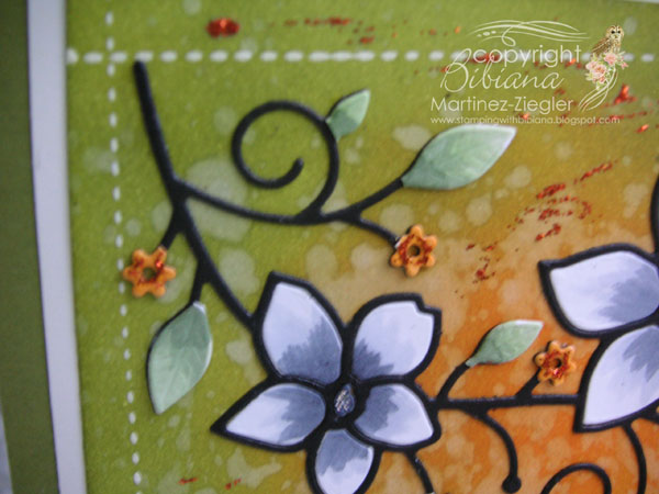 Faux stitching Bckgd flower stitches