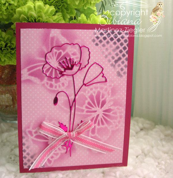 Poppy stencil pink front
