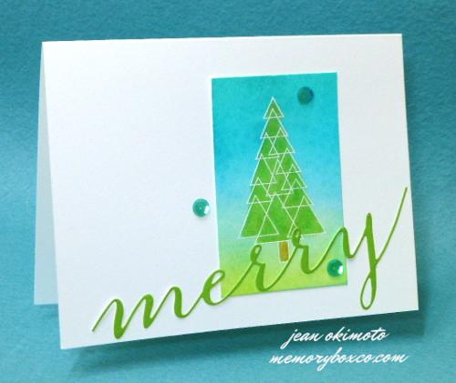 Jean-Okimoto-Memory-Box-Small-Triangle-Tree-Merry-Cursive-Christmas