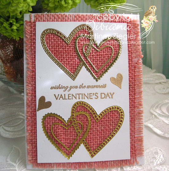 Pink burlap hearts front