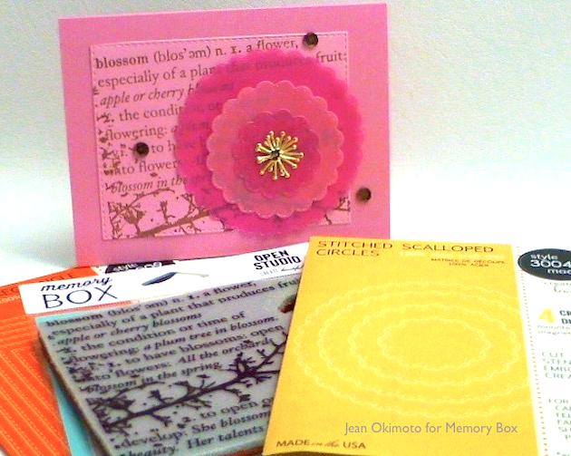 MemoryBox-OpenStudioBlossomBranch-OpenStudioStitchedScallopedCircles-MemoryBoxCherryBlossom-JeanOkimoto-ImagineCrafts