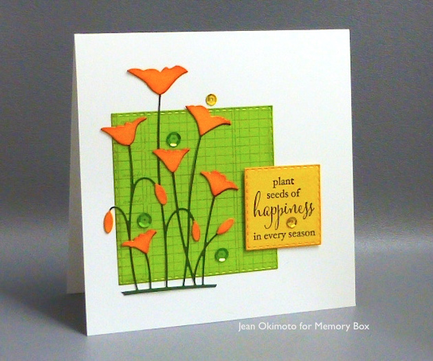 MemoryBoxRowOfPoppies-MemoryBoxSeedsOfHappiness-OpenStudioStitchedSquareLayers-OpenStudioArticlesLedger-JeanOkimoto-ImagineCrafts-MementoDyeInkpads