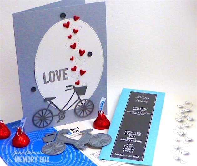MemoryBoxFlickerHearts-MemoryBoxBrandNewBicycle-OpenStudioStitchedOvalLayers-OpenStudioSmileClearStamps-JeanOkimoto-BrillianceInkpad