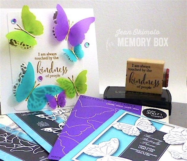MemoryBoxHoveringButterflyFrame-MemoryBoxButterflyEnsemble-MemoryBoxFairytaleButterflies-MemoryBoxButterflyWreath-JeanOkimoto-VersaMark