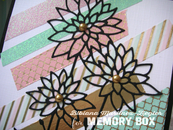 Washi black flower detail