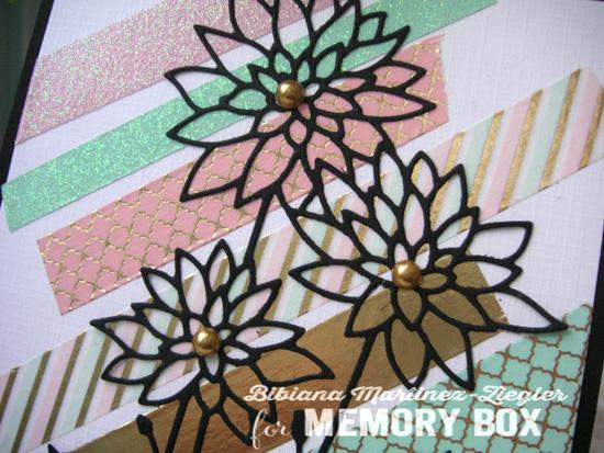 Washi black flower detail