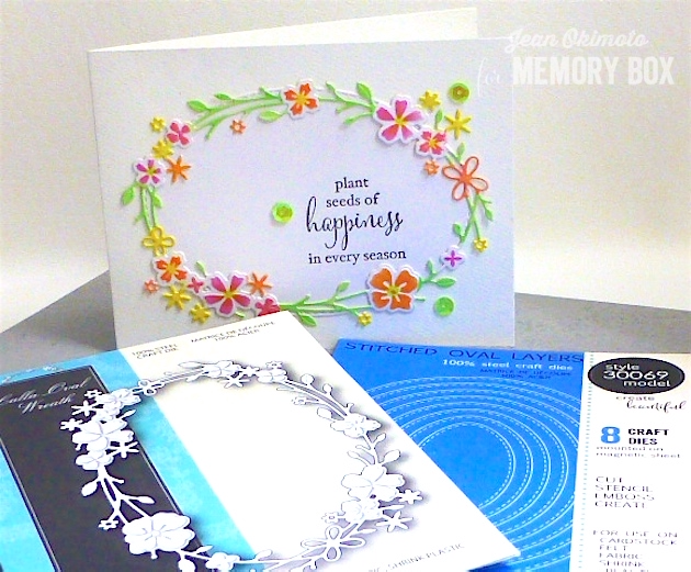 MemoryBoxCallaOvalWreath-MemoryBoxStitchedOvalLayers-JeanOkimoto-Brilliance-ImagineCrafts