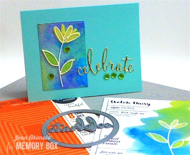 MemoryBoxSketchDaisy-OpenStudioStitchedRectangleLayers-MemoryBoxStitchedCelebrateCircleFrame-JeanOkimoto-ImagineCrafts-FeltFlowers