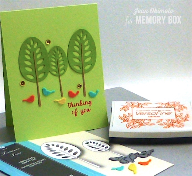 MemoryBoxTorranceTrees-MemoryBoxRestingBirds-MemoryBoxSpringtimeBunniesClearStamps-JeanOkimoto-ImagineCrafts-VersaFine