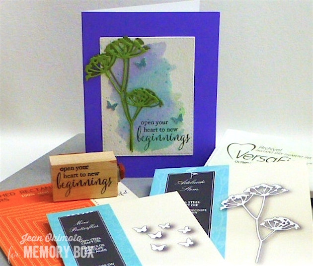 MemoryBoxAdelaideStem-MemoryBoxBeginnings-MemoryBoxMiniButterflies-MemoryBoxOpenStudioStitchedRectangleLayers-JeanOkimoto-PeerlessWatercolors-ImagineCrafts-VersaFine