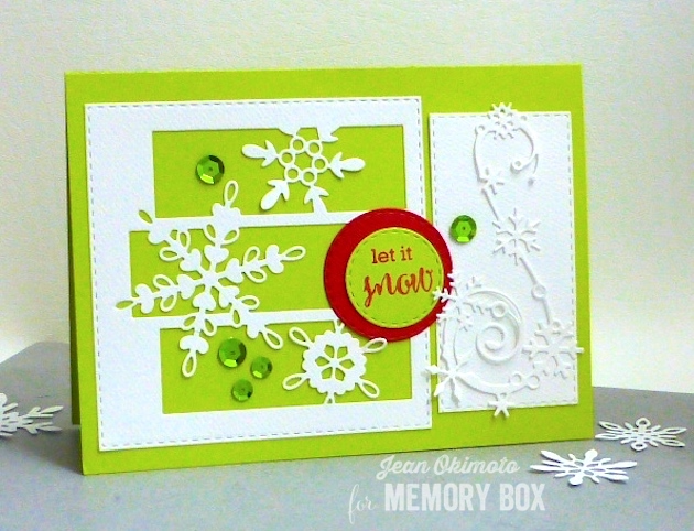 MemoryBoxSnowflakeSpectacle=MemoryBoxElegantSnowflakeFlourish-MemoryBoxOpenStudioMakingSpiritsBrightClearStamps-MemoryBoxOpenStudioStitchedSquareLayers-MemoryBoxOpenStudioStitchedCircleLayers-JeanOkimoto-ImpressCardsAndCrafts-MemoryBoxHolidaty2016