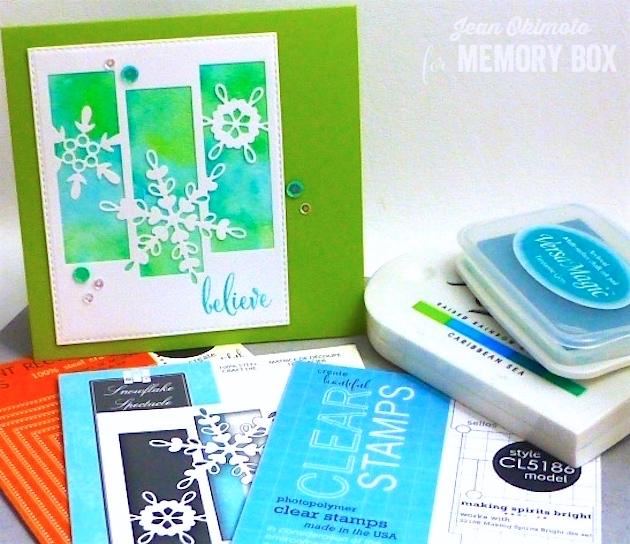 MemoryBoxSnowflakeSpectacle-MemoryBoxOpenStudioMakingSpiritsBrightStamps-MemoryBoxOpenStudioStitchedRectangleLayers-JeanOkimoto-ImagineCrafts-Kaleidacolor-VersaMagic-WatercoloredCards-ImpressCardsAndCrafts
