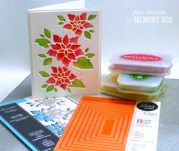 MemoryBoxSeptember2016Release-MemoryBoxPoinsettiaCollage-MemoryBoxOpenStudioStitchedRectangleTrimmings-JeanOkimoto-ImagineCraftsBrillianceInkpads