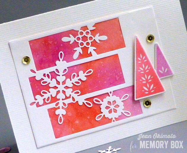 MemoryBoxSnowflakeSpectacle-MemoryBoxStitchedRectangleTrimmings-MemoryBoxMakingSpiritsBrightDieSet-MemoryBoxMakingSpiritsBrightClearStampSet-JeanOkimoto-ImagineCrafts-PeerlessWatercolors-WatercoloredHolidayCards-SnowflakeHolidayCards