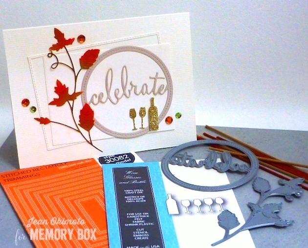 MemoryBoxStitchedRectangleTrimmings-MemoryBoxStitchedCelebrateCircle-MemoryBoxGrapeVine-MemoryBoxWineGlassesAndBottle-JeanOkimoto