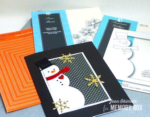 MemoryBoxSnowmanCollage-MemoryBoxSnowBurst-MemoryBoxStitchedRectangleTrimmings-MemoryBoxNotecards-MemoryBoxSignaturePatterns-JeanOkimoto