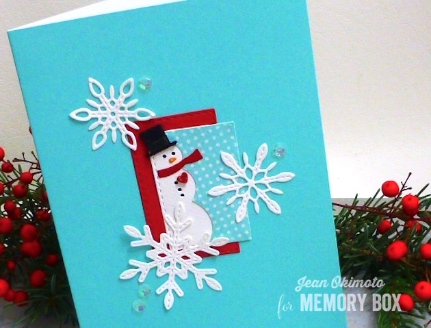 MemoryBoxMiniSnowmanCollage-MemoryBoxDelicateStitchedSnowflakes-MemoryBoxOpenStudioStitchedRectangleLayers-SnowmanCardds-JeanOkimoto