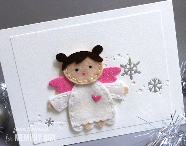 MemoryBoxPlushAngel-MemoryBoxSnowdriftBreeze-MemoryBoxStitchedRectangleTrimmings-JeanOkimoto-FeltCards-AngelCards
