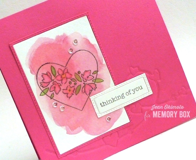 MemoryBoxHeartWire-MemoryBoxSoManyThingsToLove-MemoryBoxStitchedRectangleTrimmings-JeanOkimoto-WatercoloredHeartCards-PeerlessWatercolors