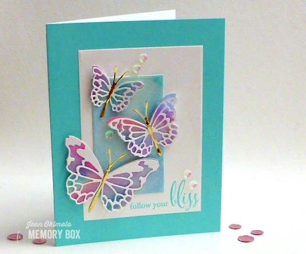 MemoryBoxMorningGardenButterflies-MemoryBoxButterlyEnsemble-MemoryBoxFollowYourBliss-MemoryBoxRectangleBasics-JeanOkimoto-ImagineCraftsKaleidacolors-PeerlessWatercolors-WateroloredButterflies-ButterflyCards-ImpressCardsAndCrafts