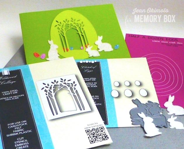 MemoryBoxClutchOfEggs-MemoryBoxWildwoodCollage-MemoryBoxHalfADozenEggs-MemoryBoxSpringtimeBunnies-JeanOkimoto-FeltDiecuts-EasterCards-GlitteredEggs