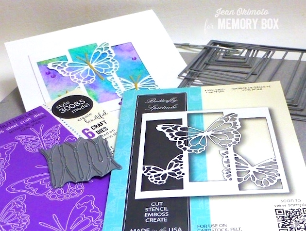 MemoryBoxButterflySpectacle-MemoryBoxMorningGardenButterflies-MemoryBoxSquareBasics-JeanOkimoto-WatercoloredCards-ButterflyCards-WatercoloredButterflyCards-ButterflyDiecuts-Kaleidacolor