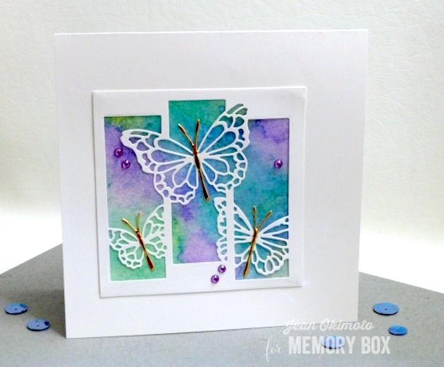 MemoryBoxButterflySpectacle-MemoryBoxSquareBasics-MemoryBoxMorningGardenButterflies-JeanOkimoto-Kaleidacolors-ButterflyCards-WatercoloredButterflyCards-DiecutButterflyCards-ImpressCardsAndCrafts
