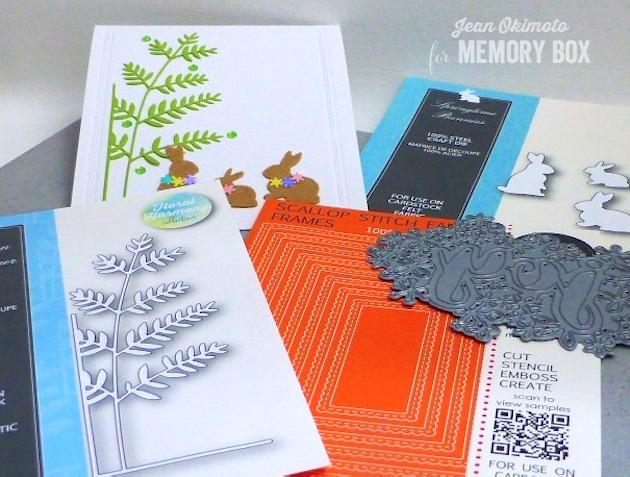 MemoryBoxTallFernLeftCorner-MemoryBoxScalloppedStitchFancyFrames-MemoryBoxSpringtimeBunnies-MemoryBoxWintertimeJoy-JeanOkimoto-SpringCards-DiecutSpringCards-FeltDiecuts