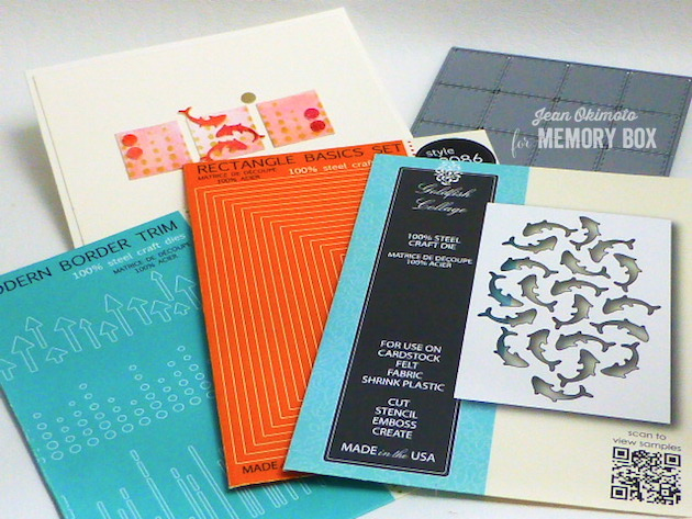 MemoryBoxGoldfishCollage-MemoryBoxRectangleBasics-MemoryBoxMiniPerfectPatches-MemoryBoxModernBorderTrim-JeanOkimoto-WatercoloredCards-FishCards-ContemporaryAsianCards