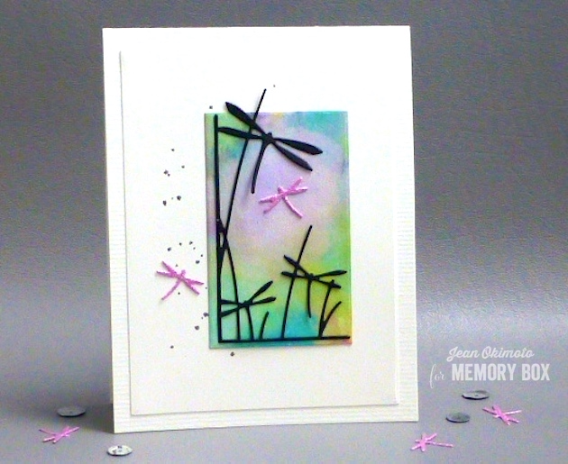 MemoryBoxDragonflyStemsLeftCorner-MemoryBoxLittleDragonflies-MemoryBoxRectangleBasics-JeanOkimoto-DiecutCards-DragonflyCards-WatercoloredCards-WatercoloredDragonflyCards-ImagineCrafts-Kaleidacolor-BrillianceInkpads-ImpressCardsAndCrafts