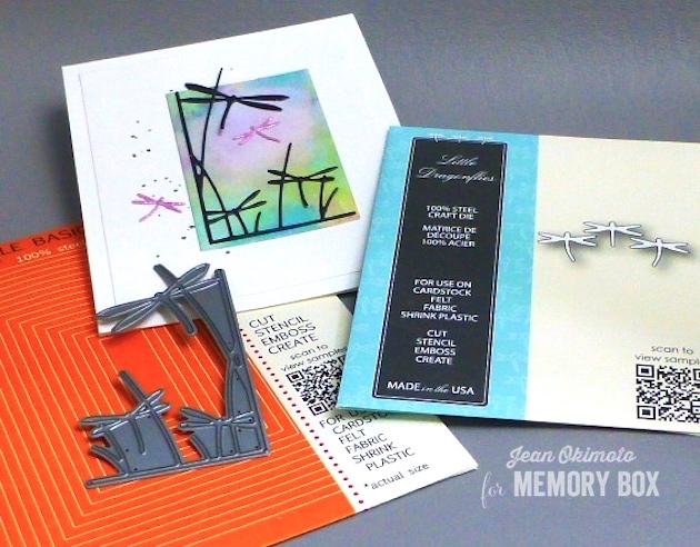 MemoryBoxLittleDragonflies-MemoryBoxDragonflyStemsLeftCorner-MemoryBoxRectangleBasics-JeanOkimoto-ImagineCrafts-Kaleidacolors-BrillianceInkpads-WatercoloredCards-WatercoloredDragonflyCards-DiecutCards-DragonflyDiecuts
