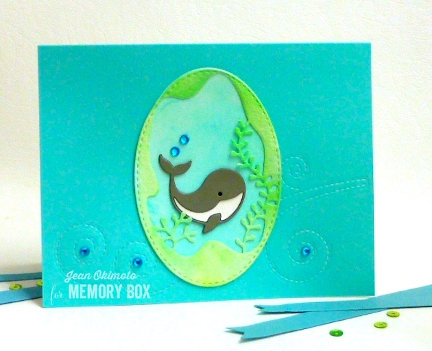 MemoryBoxNeighborlyNarwhal-MemoryBoxSeaweedCollage-MemoryBoxSwirlingStitches-MemoryBoxOpenStudioStitchedOvalLayers-JeanOkimoto-PeerlessWatercolors-WatercoloredCards-WhaleCards-ImpressCardsAndCrafts