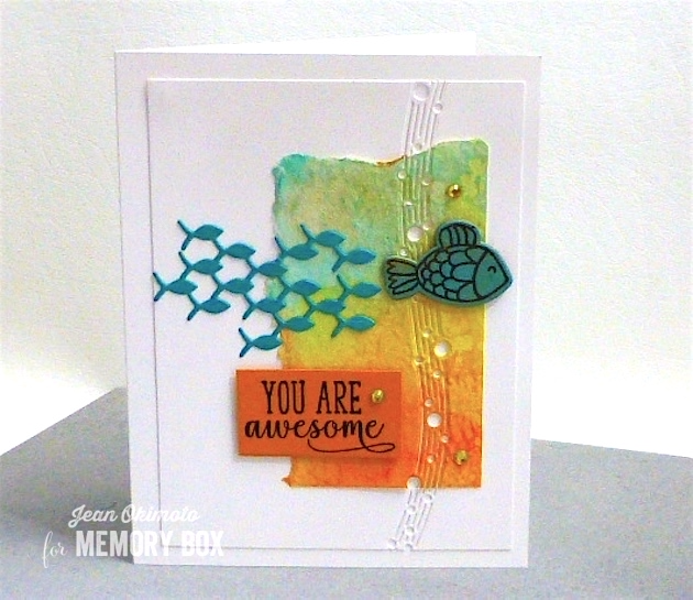 MemoryBoxFamilyOfFish, MemoryBoxRectangleBasics-MemoryBoxFishTalesClearStamps-MemoryBoxFishTalesDieSet-MemoryBoxSpringVioletsClearStampSet-MemoryBoxSheerCircleTrimming, JeanOkimoto-PeerlessWatercolors-ShizenDesign-WatercoloredCards-WatercoloredFishCards-ImpressCardsAndCrafts