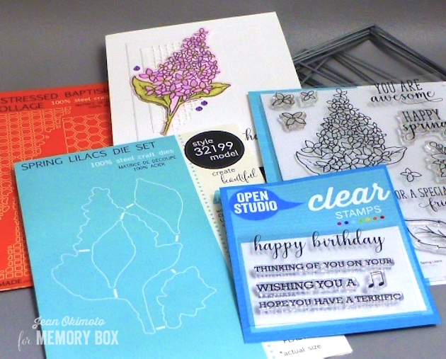 MemoryBoxSpringLilacsClearStampSet-MemoryBoxSpringLilacsDieSet-MemoryBoxOpenStudioRectangleBasics-MemoryBoxOpenStudioDistressedBaptisiaCollageSet-MemoryBoxOpenStudioBirthdaySentimentsClearStampSet-JeanOkimotoWatercoloredCards-ImagineCrafts-WatercoloredFlowerCards