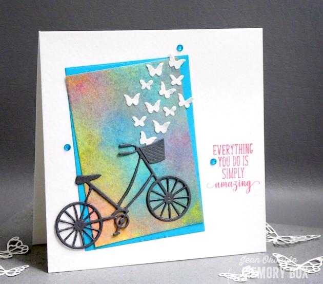 MemoryBoxBrandNewBicycle-MemoryBoxRectangleBasics-MemoryBoxMiniButterflies-MemoryBoxOpenStudioSpringLilacsClearStampSet-JeanOkimoto-RangerDistressOxides-WatercoloredCard-WatercoloredBackgrounds-BicycleCards-ButterflyCards