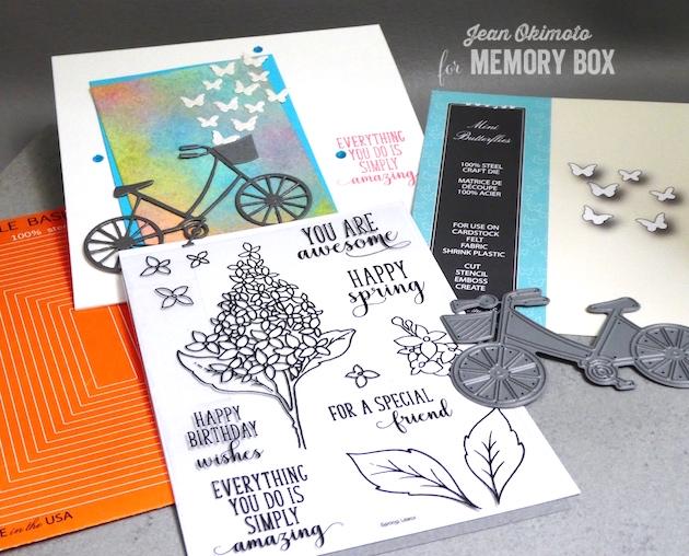 MemoryBoxMiniButterflies-MemoryBoxBrandNewBicycle-MemoryBoxRectangleBasics-MemoryBoxOpenStudioSpringLilacsClearStampSet-JeanOkimoto-RangerDistressOxides-WatercoloredBackgrounds-WatercoloredCards-BicycleCards-ButterflyCards