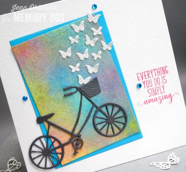 MemoryBoxRectangleBasics-MemoryBoxMiniButterflies-MemoryBoxBrandNewBicycle-MemoryBoxOpenStudioSpringLilacsClearStampSet-JeanOkimoto-RangerDistressOxides-WatercoloredCards-WatercoloredBackgrounds-ButterflyCards-BicycleCards
