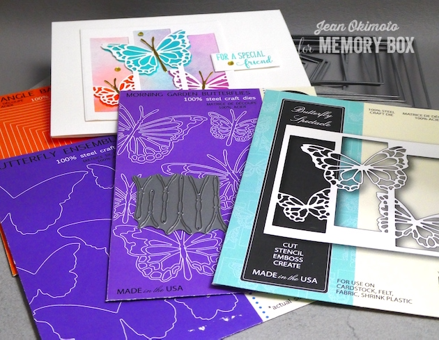 MemoryBoxButterflySpectacle-MemoryBoxButterflyEnsemble-MemoryBoxMorningGardenButterflies-MemoryBoxSpringLilacs-MemoryBoxRectangleBasics-MemoryBoxSquareBasics-JeanOkimoto-ButterflyCards-WatercoloredCards-WatercoloredBurtterflyCards-Kaleidacolor-BrillianceInkpads