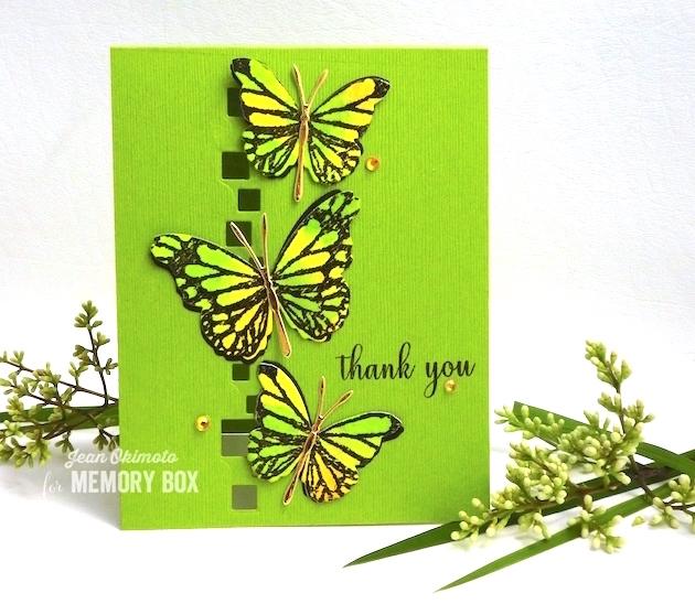 MemoryBoxCubicBorder-MemoryBoxSketchFormButterfly-MemoryBoxButterflyEnsemble-MemoryBoxMorningGardenButterflies-MemoryBoxThankYouSentiments-JeanOkimoto-Kaleidacolors-WatercoloredButterflies-ButterflyCards-DiecutButterflies-DiecutCards-VersaFine-ImpressCardsAndCrafts