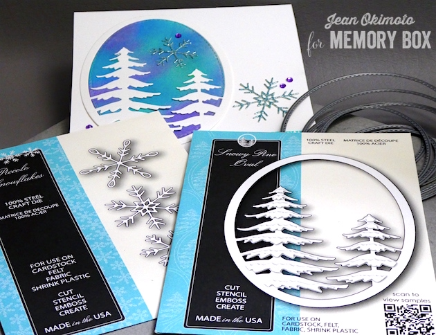 MemoryBoxSnowyPineOval-MemoryBoxPiccoloSnowflakes-MemoryBoxBlessedToKnowYouClearStamps-MermoryBoxStitchedOvalLayers-JeanOkimoto-MemoryBoxChristmasCards-DiecutChristmasCards-WatercoloredDiecuts-DistressOxideBackgrounds