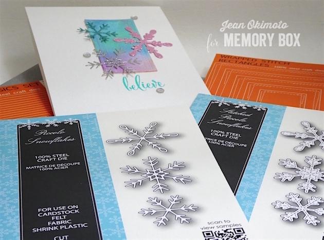 MemoryBoxHoliday2017-MemoryBoxWrappedStitchRectangles-MemoryBoxPiccoloSnowflakes-MemoryBoxStitchedPiccoloSnowflakes-MemoryBoxMakingSpiritsBrightClearStampSet-MemoryBoxRectangleBasics-JeanOkimoto-DistressOxidesCards-WatercoloringWithDistressOxides-SnowflakeCards-GlitteredDiecuts