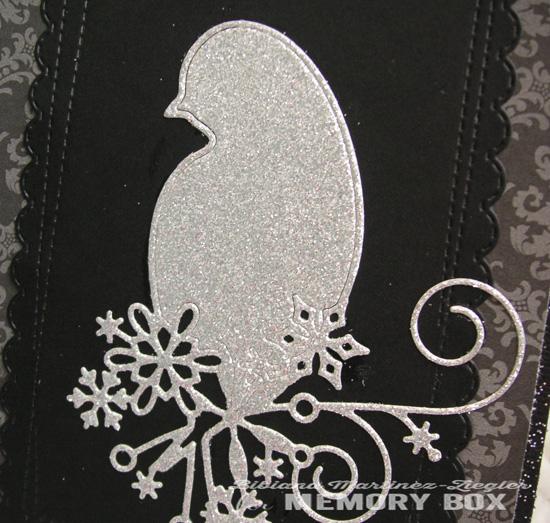 Xmas bird black silver detail