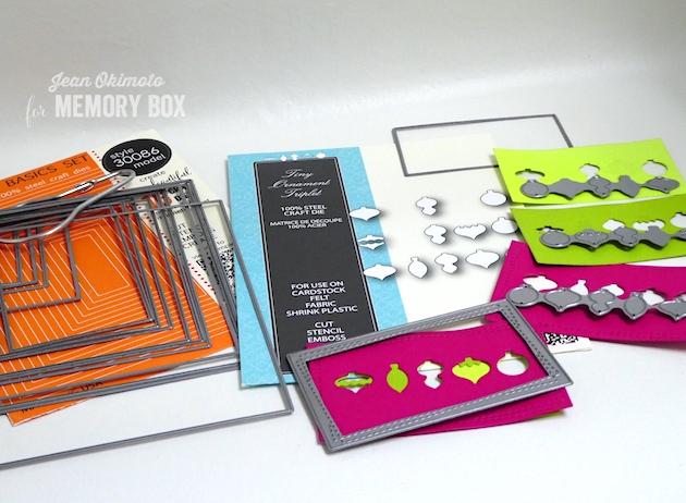 MemoryBoxTinyOrnamentTriplet-MemoryBoxSnowflakeWire-MemoryBoxRectangleBasics-MemoryBoxWrappedStitchRectangles-JeanOkimoto-OrnamentCards-MemoryBoxChristmasCards