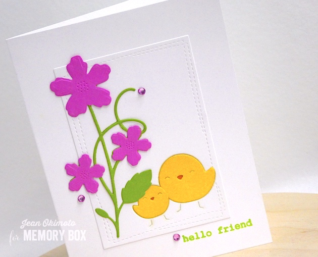 MemoryBoxGloriousFloralStem-MemoryBoxSimpleChicks-MemoryBoxWrappedStitchRectangles-MemoryBoxWireworkHeartsClearStamps-JeanOkimoto-VersaFineClair-SpringCards-DiecutSpringCards-ChickCards-FriendshipCards