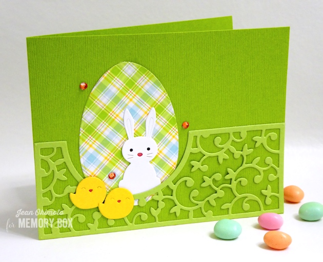 MemoryBoxLeftHuttonGate-MemoryBoxSimpleChicks-MemoryBoxSweetBunny-MemoryBoxHalfADozenEggs-JeanOkimoto-MemoryBoxCards-DiecutEasterCards-ChickCards-BunnyCards-ImpressCardsAndCrafts-LawnFawnSimplyPlaidSpring